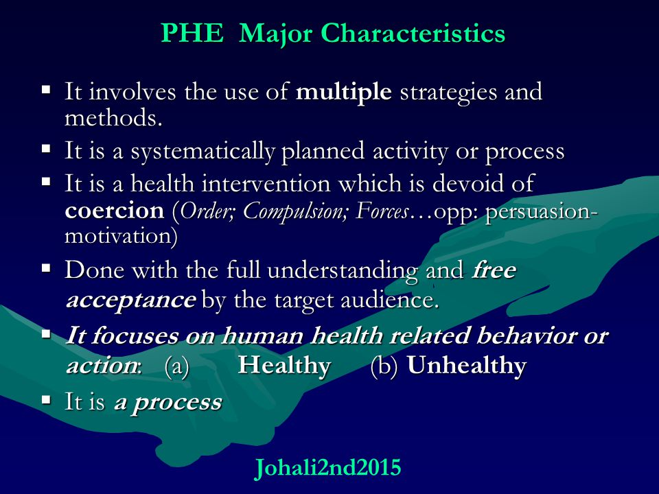 PHE Major Characteristics