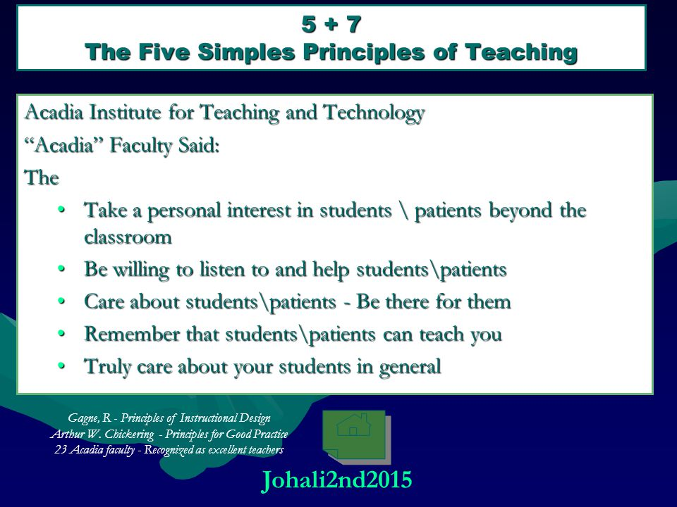 5 + 7 The Five Simples Principles of Teaching