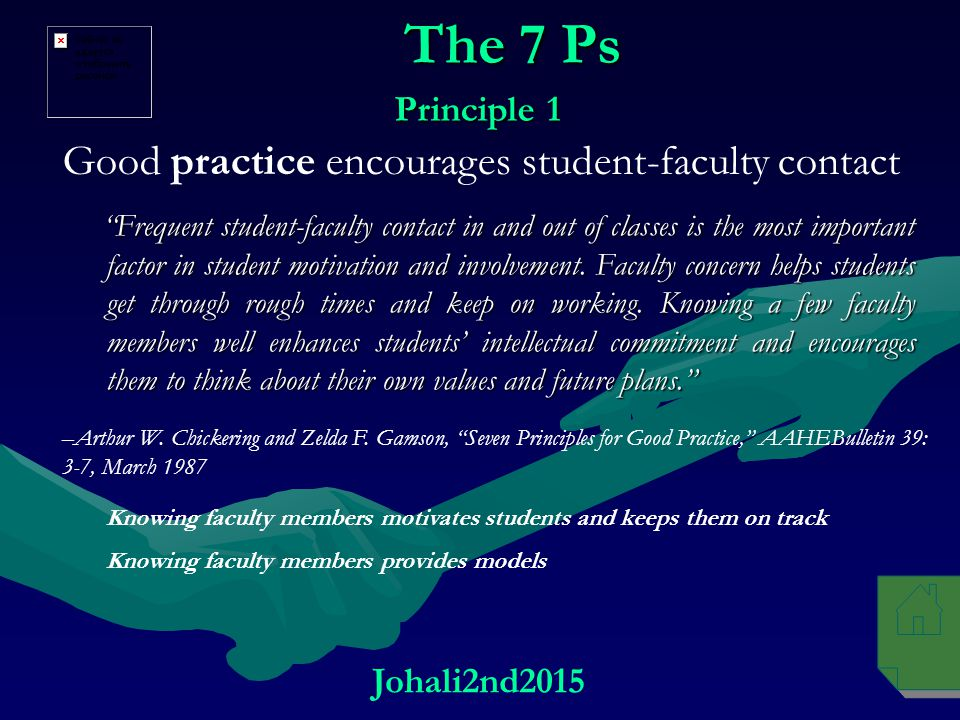 The 7 Ps Good practice encourages student-faculty contact Principle 1