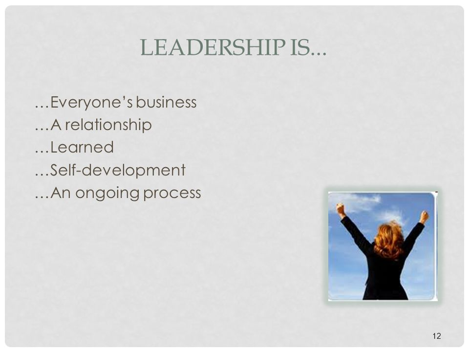 Leadership is... …Everyone's business …A relationship …Learned