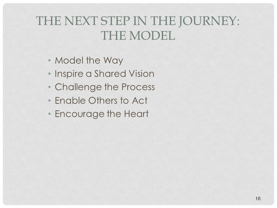 The Next Step in the Journey: The Model