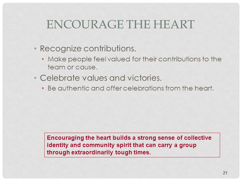 Encourage the Heart Recognize contributions.