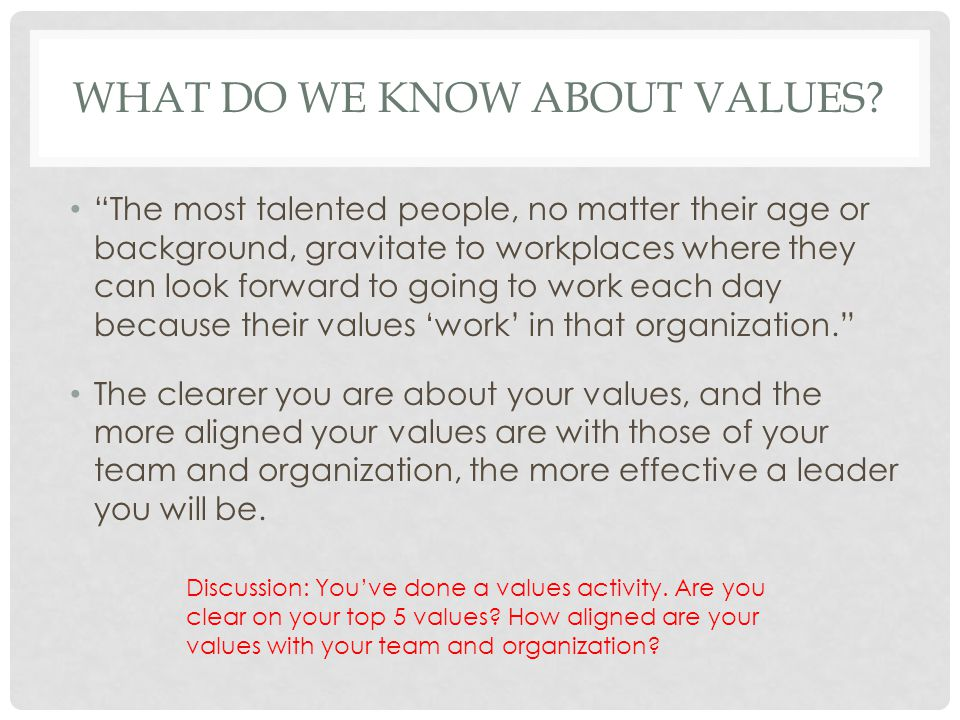 What do we know about values