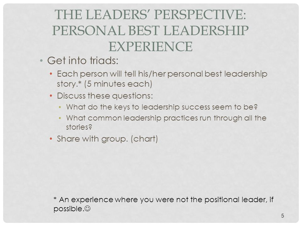 The Leaders' Perspective: Personal Best Leadership Experience