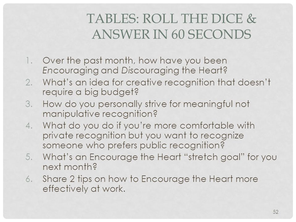 TABLES: Roll the Dice & Answer in 60 Seconds