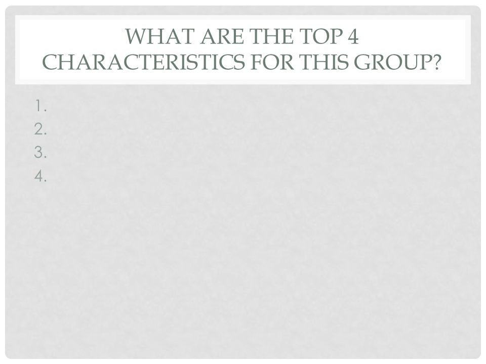 What are the top 4 characteristics for this group