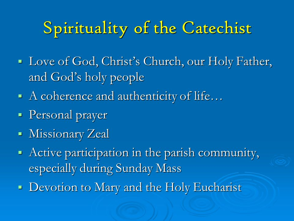 Spirituality of the Catechist
