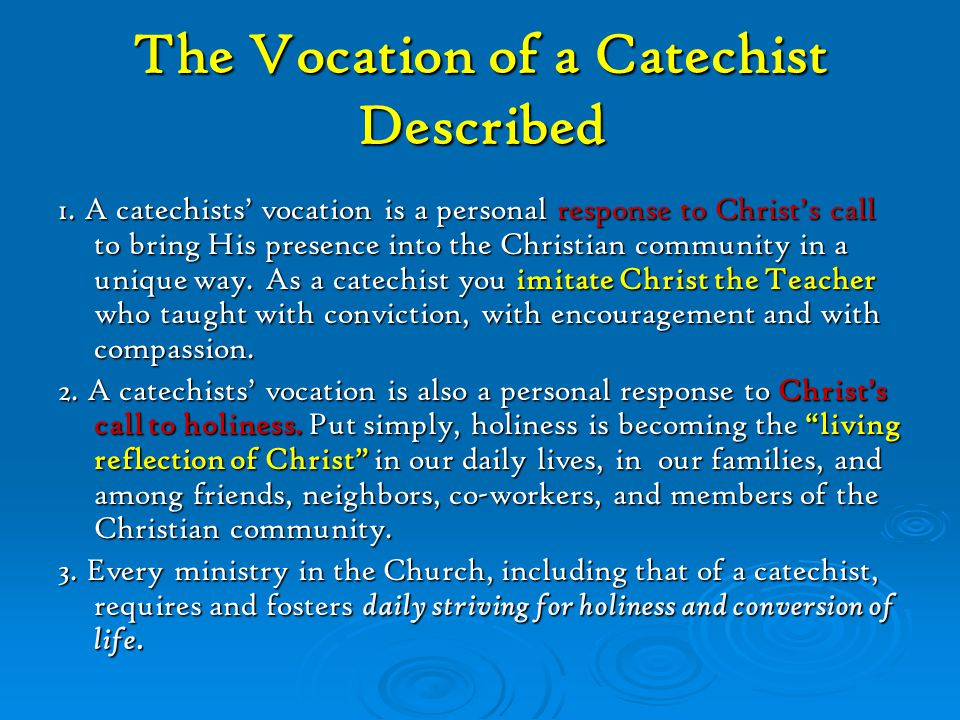 The Vocation of a Catechist Described