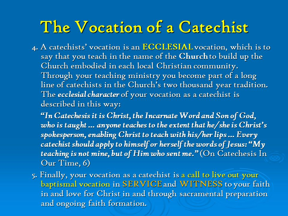 The Vocation of a Catechist