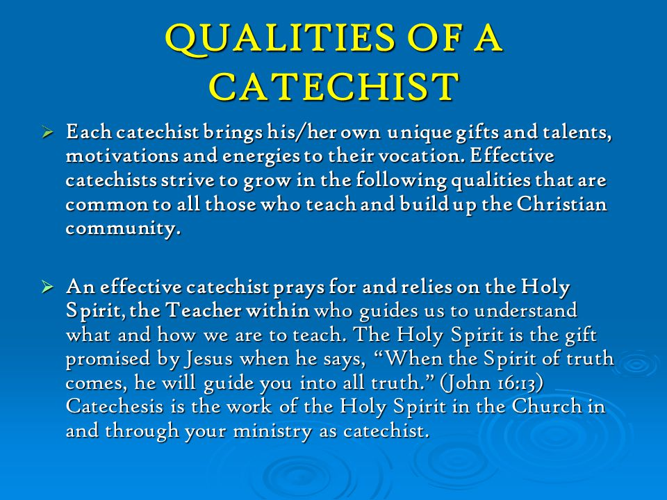 QUALITIES OF A CATECHIST