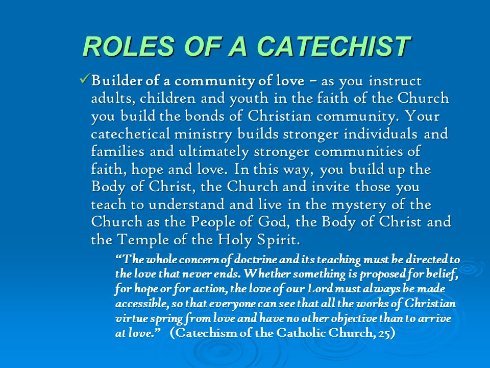 ROLES OF A CATECHIST
