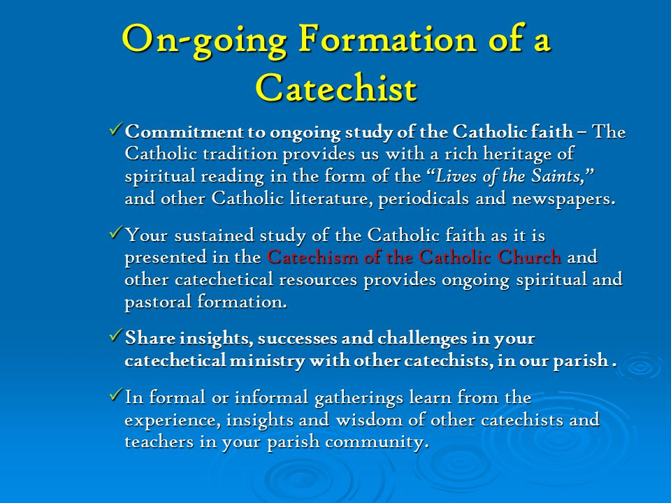 On-going Formation of a Catechist