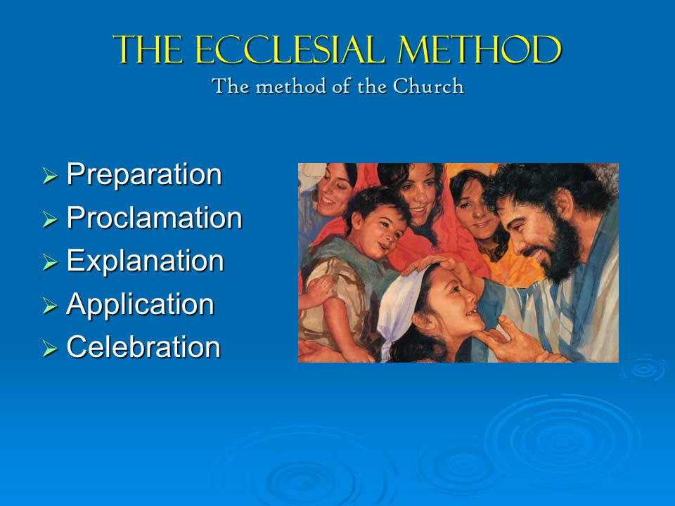 The Ecclesial Method The method of the Church