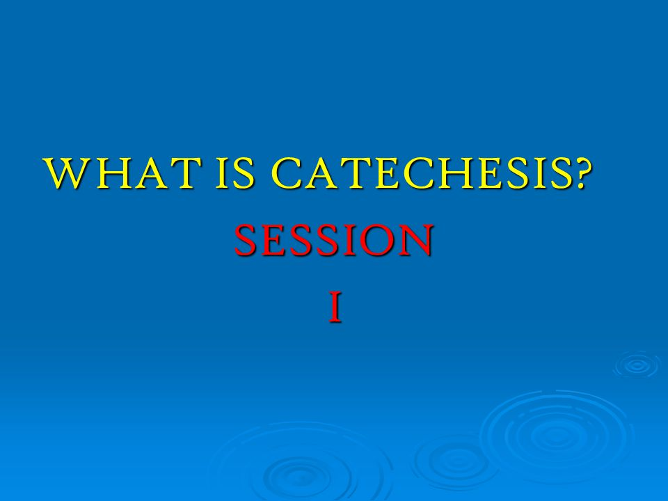 WHAT IS CATECHESIS SESSION I