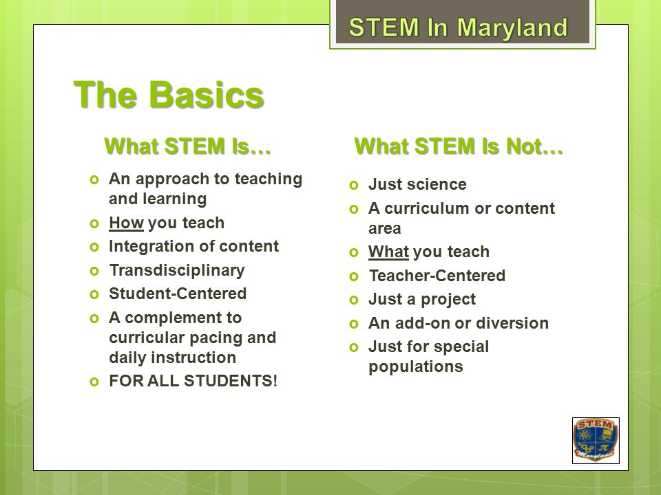 The Basics STEM In Maryland What STEM Is… What STEM Is Not…
