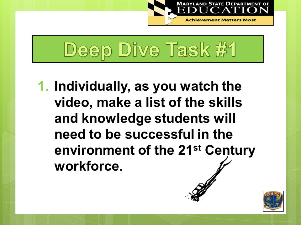 STEM In Maryland Deep Dive Task #1.