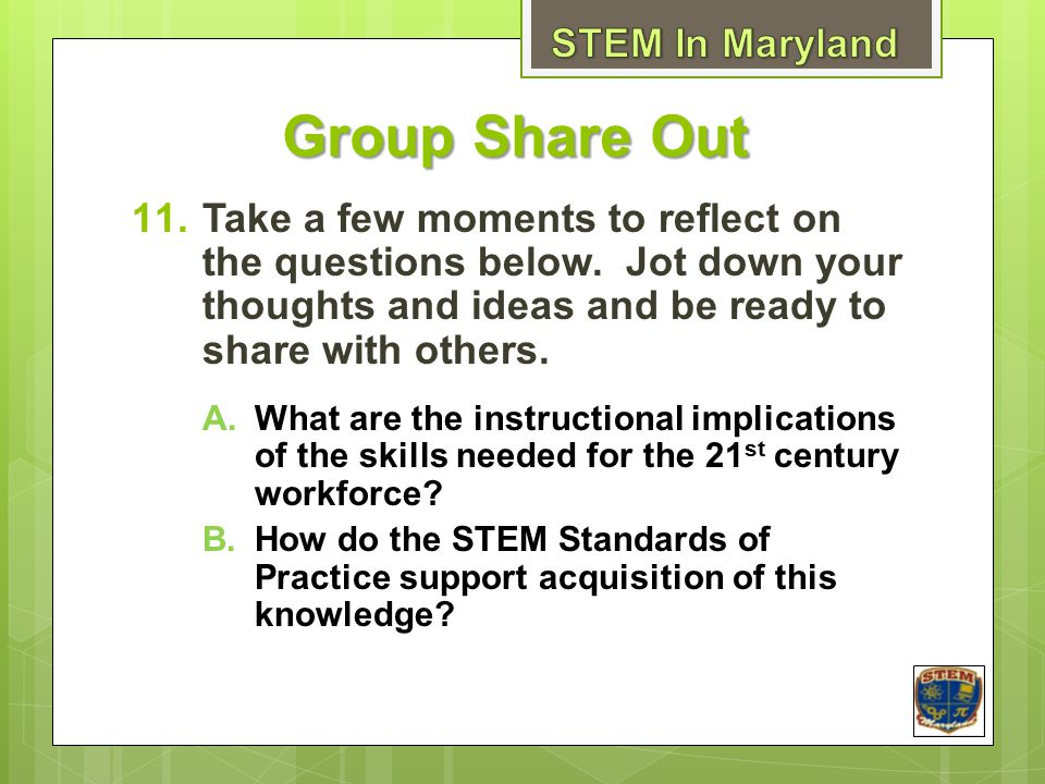 Group Share Out STEM In Maryland