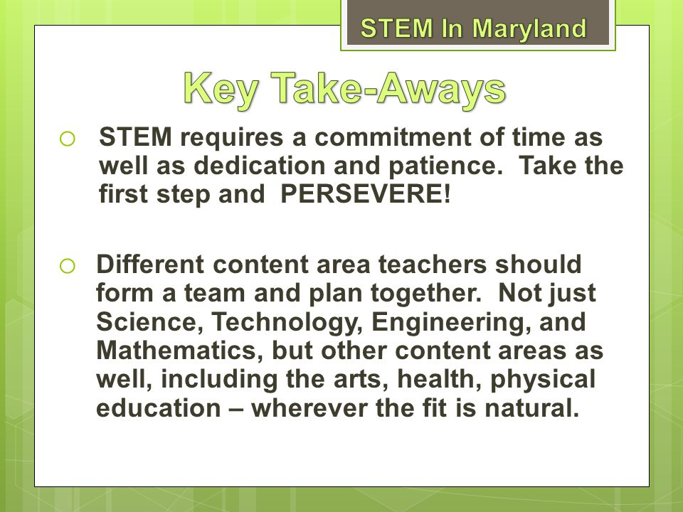 Key Take-Aways STEM In Maryland