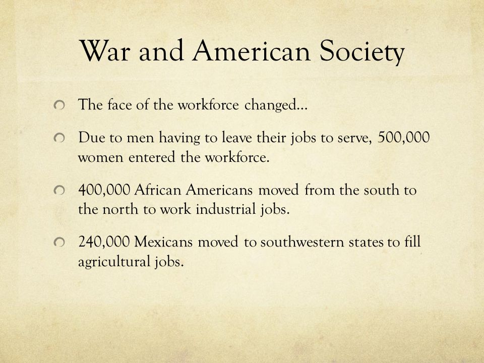 War and American Society
