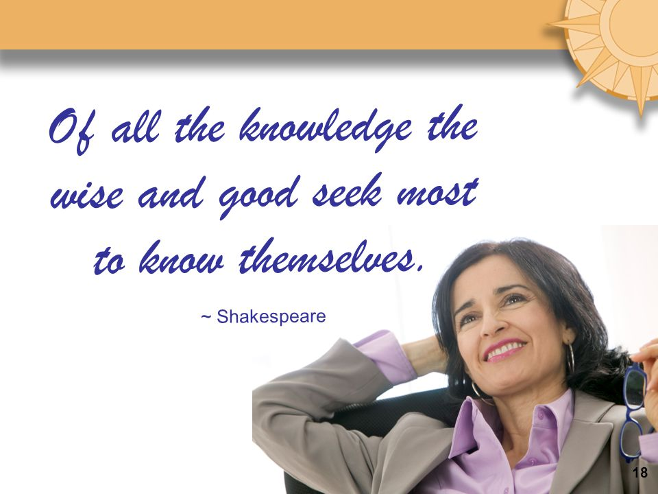 Of all the knowledge the wise and good seek most to know themselves.