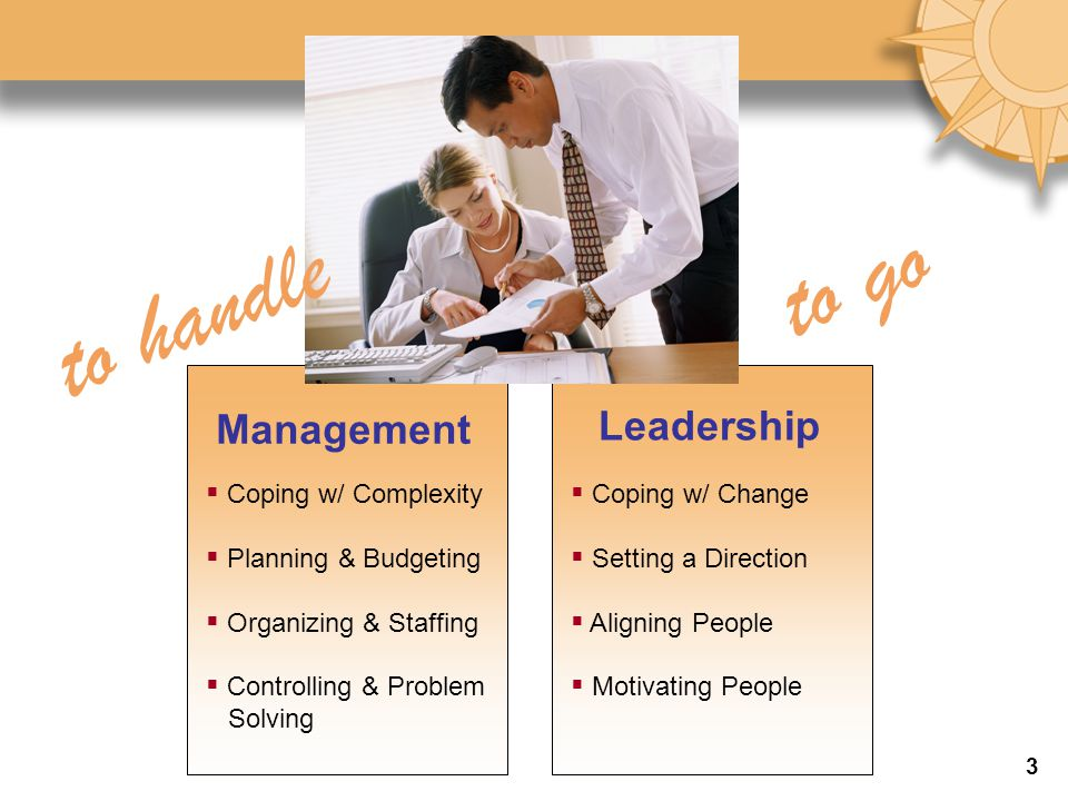 to go to handle Management Leadership Coping w/ Complexity