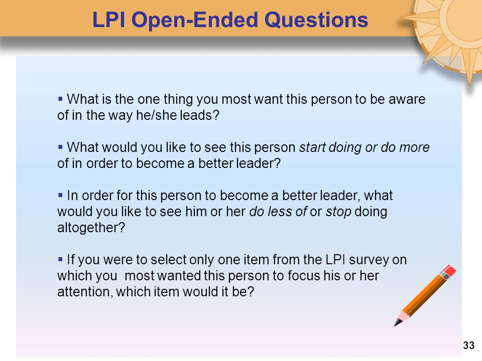LPI Open-Ended Questions