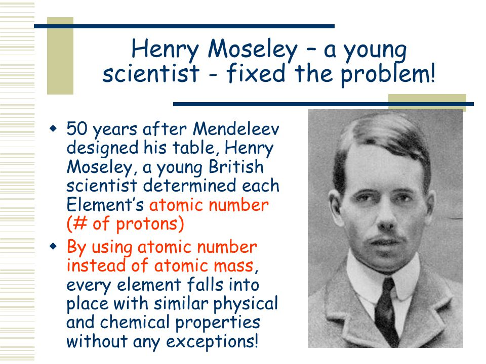 Henry Moseley – a young scientist - fixed the problem!