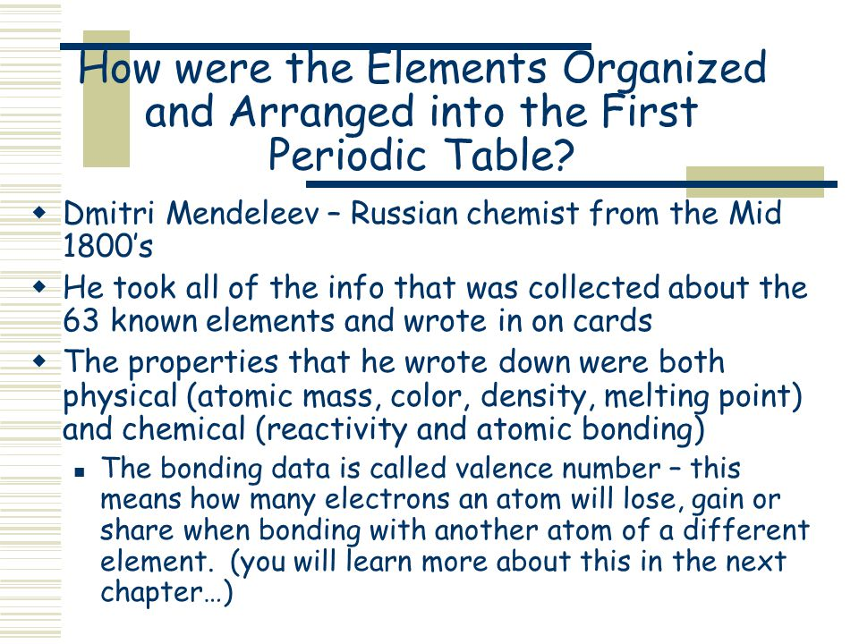Classification of elements the periodic table ppt video online how were the elements organized and arranged into the first periodic table urtaz Images