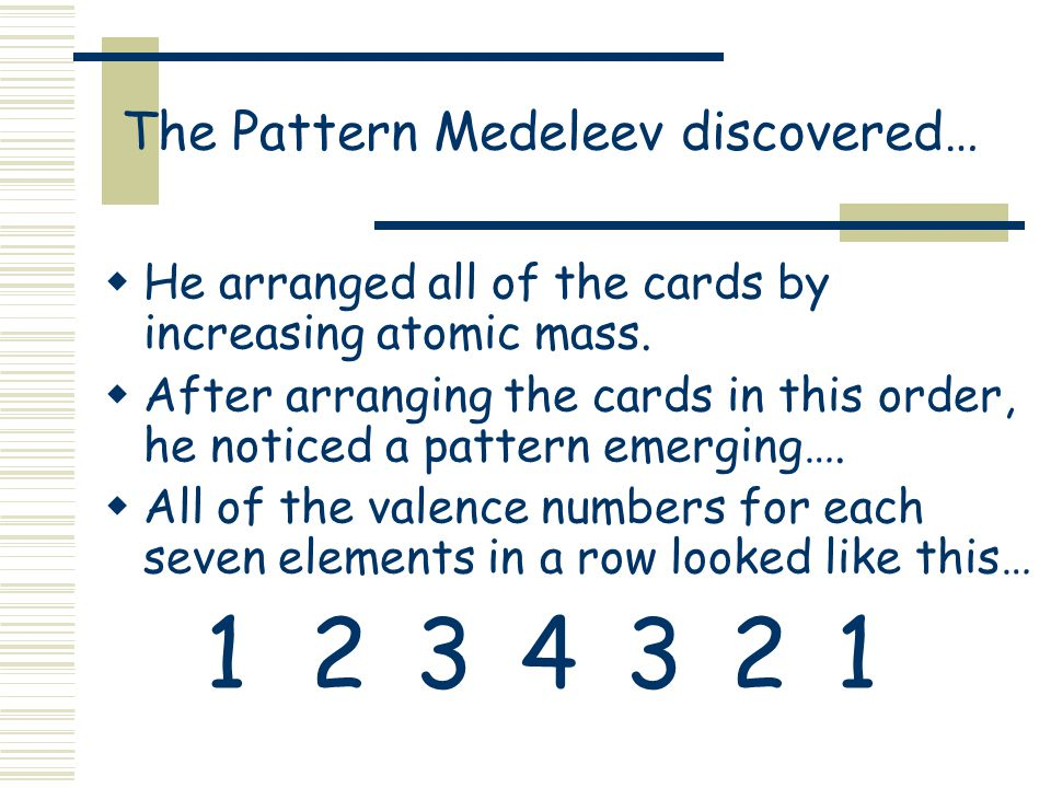 The Pattern Medeleev discovered…