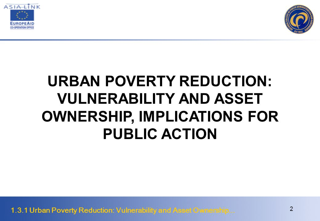 URBAN POVERTY REDUCTION: