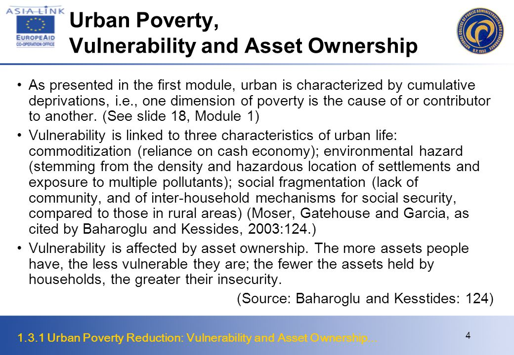 Urban Poverty, Vulnerability and Asset Ownership
