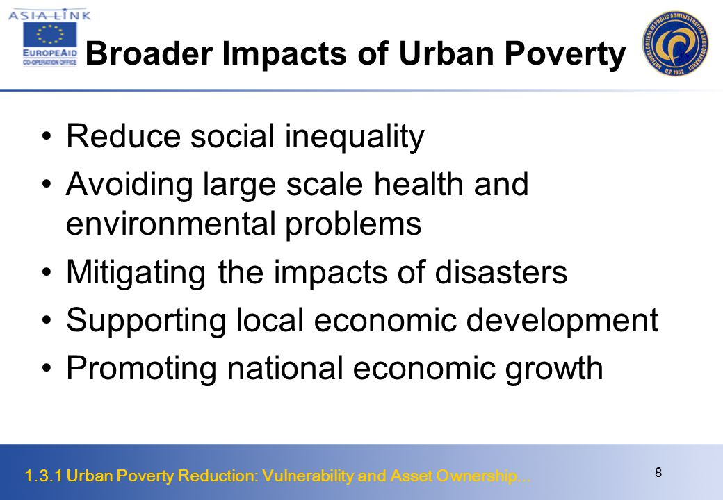 Broader Impacts of Urban Poverty