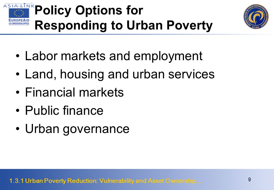 Policy Options for Responding to Urban Poverty