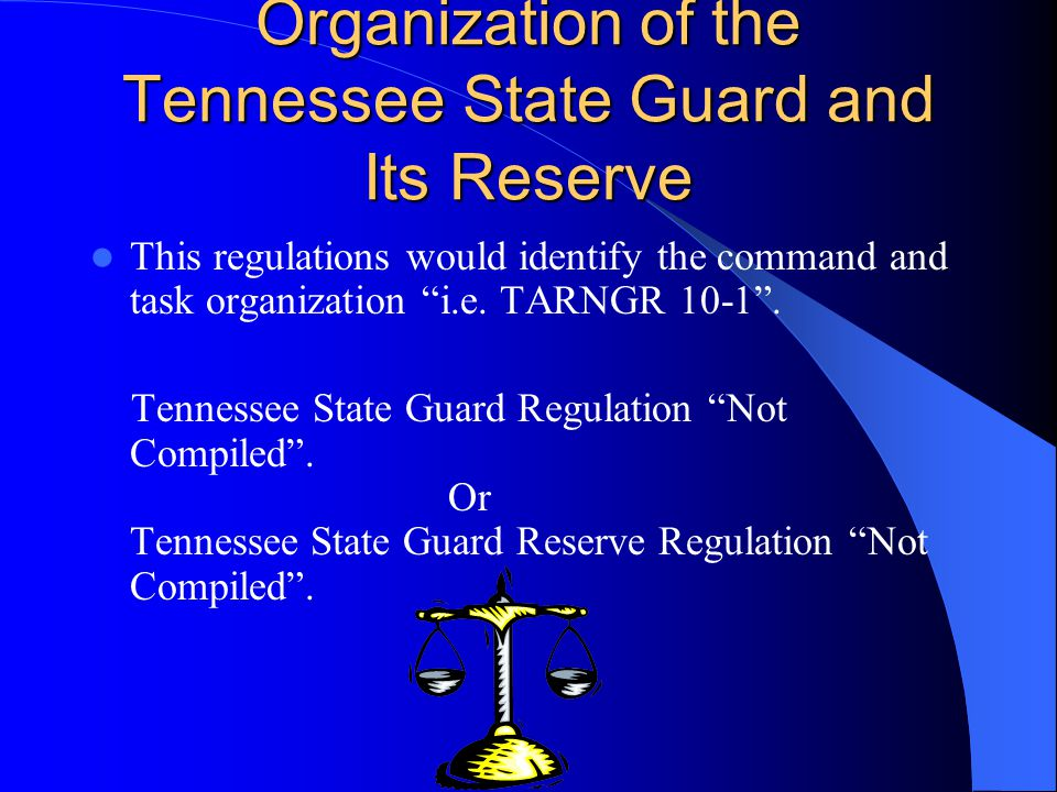 Organization of the Tennessee State Guard and Its Reserve