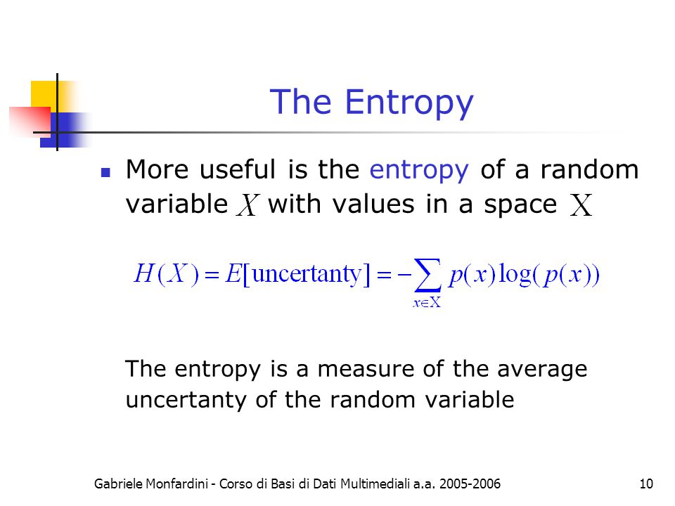 The Entropy More useful is the entropy of a random variable with values in a space.