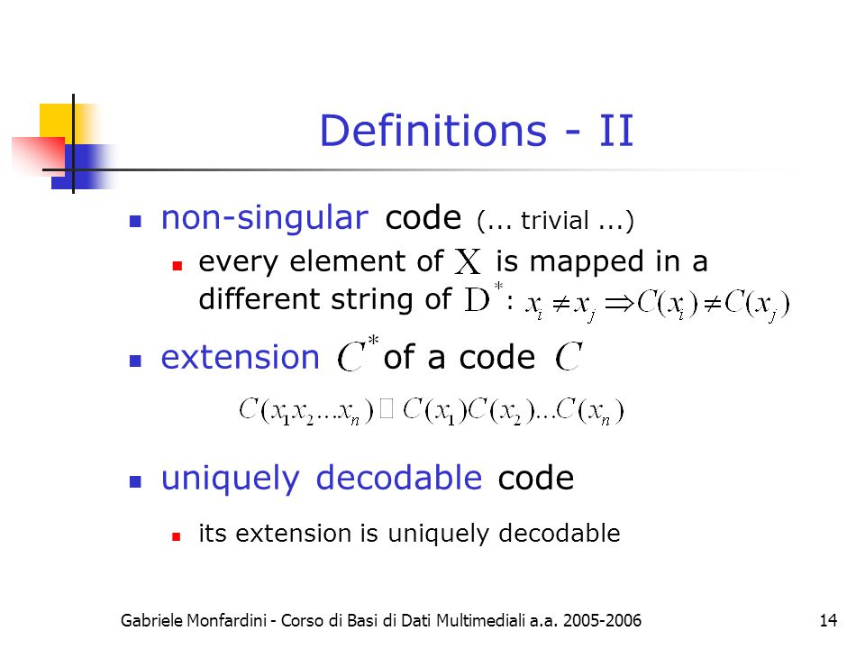 Definitions - II non-singular code (... trivial ...)