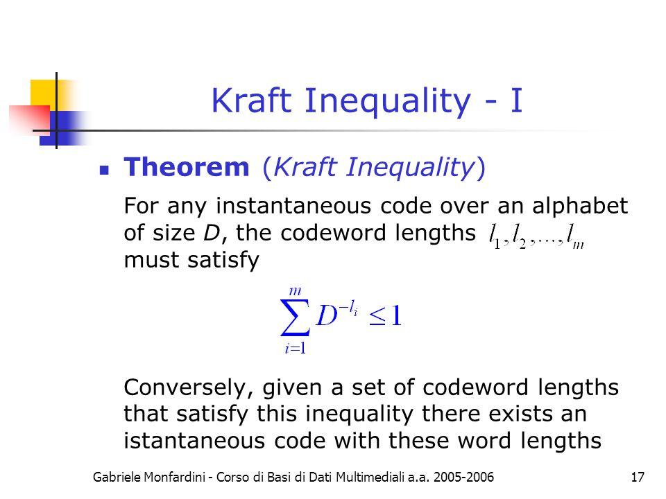 Kraft Inequality - I Theorem (Kraft Inequality)