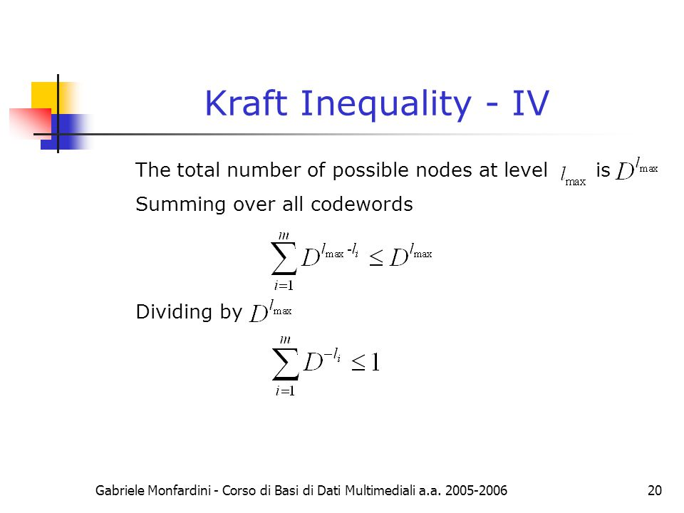 Kraft Inequality - IV The total number of possible nodes at level is