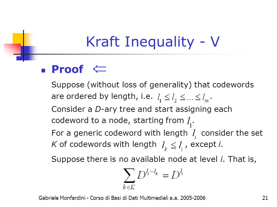 Kraft Inequality - V Proof