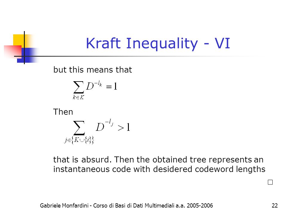 Kraft Inequality - VI but this means that Then
