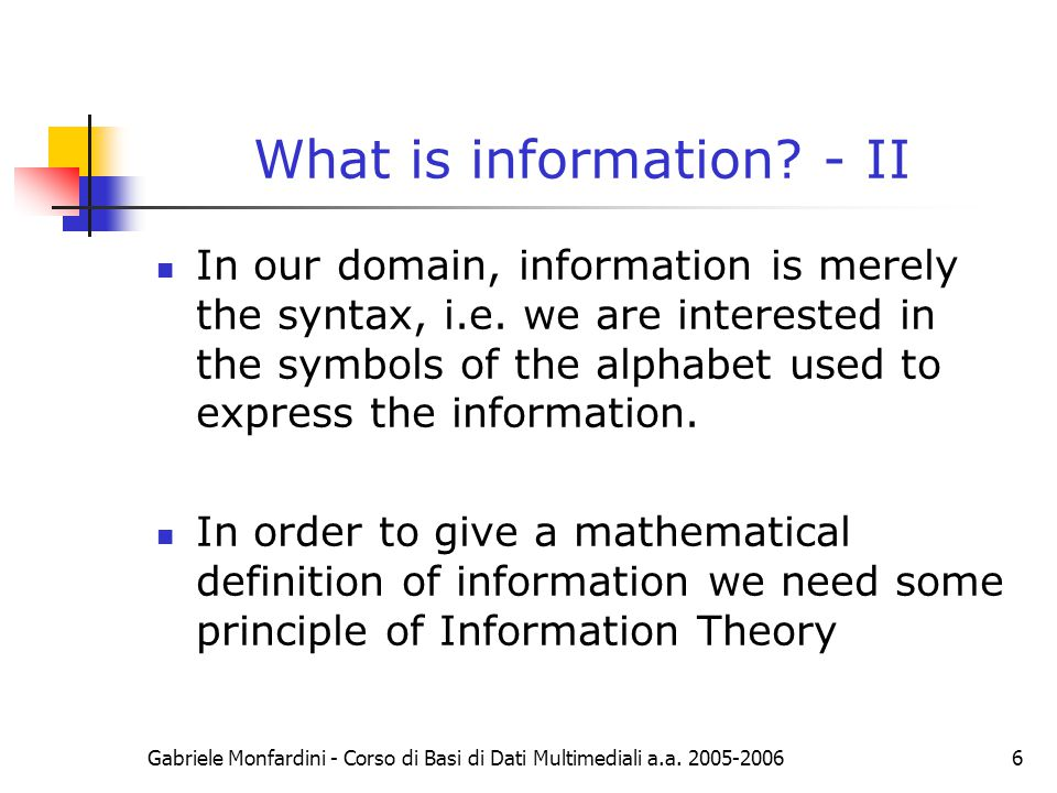 What is information - II