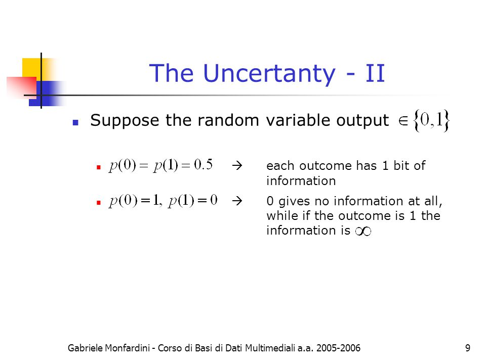 The Uncertanty - II Suppose the random variable output