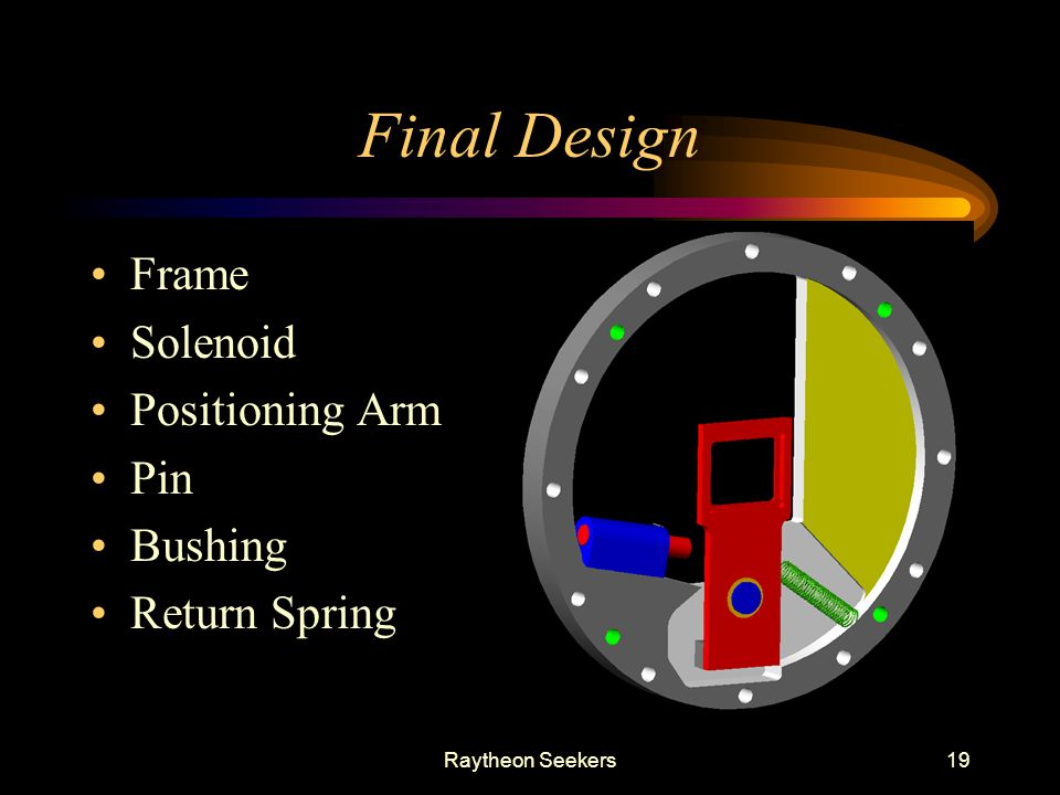 Final Design Frame Solenoid Positioning Arm Pin Bushing Return Spring