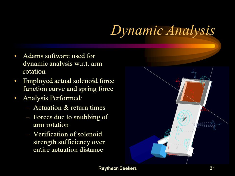 Dynamic Analysis Adams software used for dynamic analysis w.r.t. arm rotation. Employed actual solenoid force function curve and spring force.