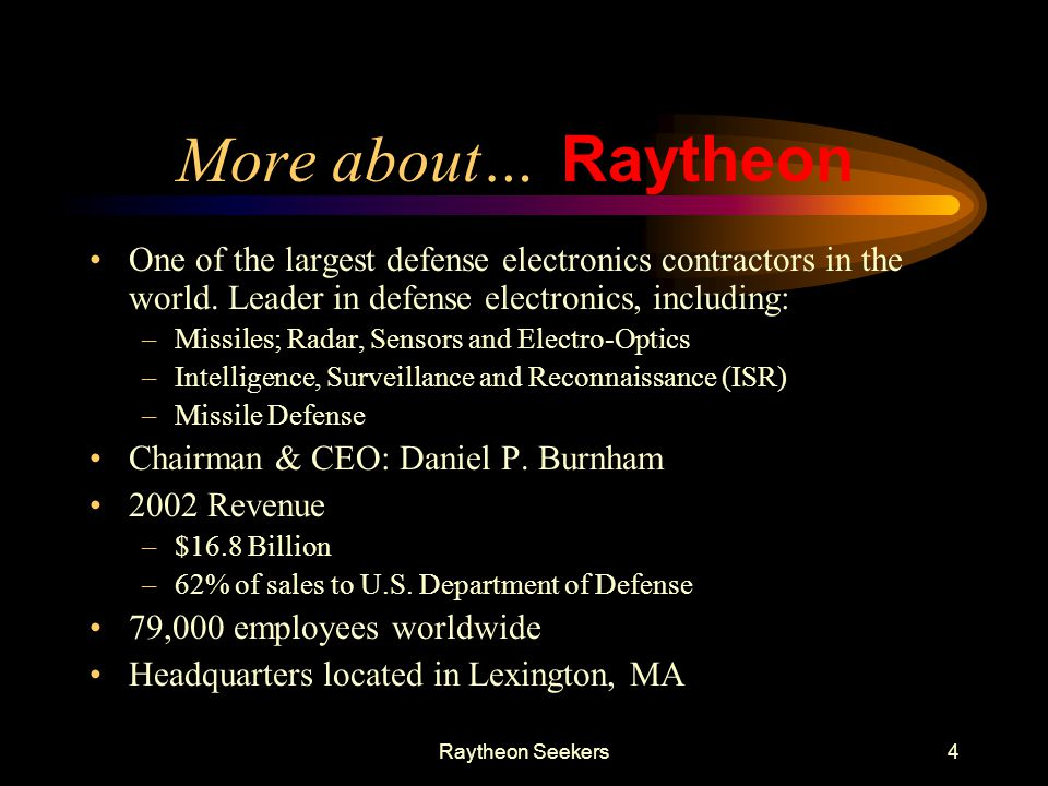 More about… Raytheon. One of the largest defense electronics contractors in the world. Leader in defense electronics, including:
