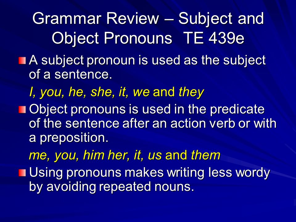 Grammar Review – Subject and Object Pronouns TE 439e
