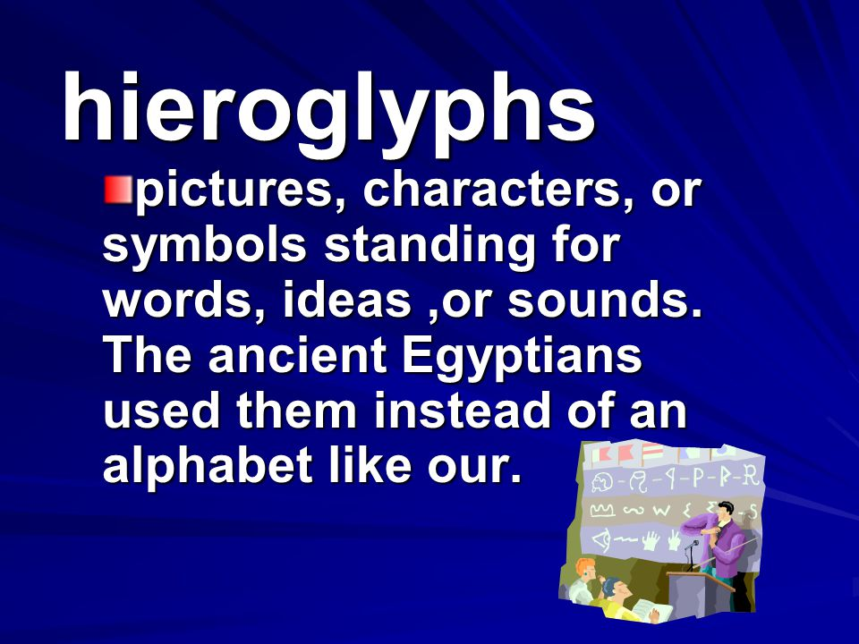 hieroglyphs pictures, characters, or symbols standing for words, ideas ,or sounds.