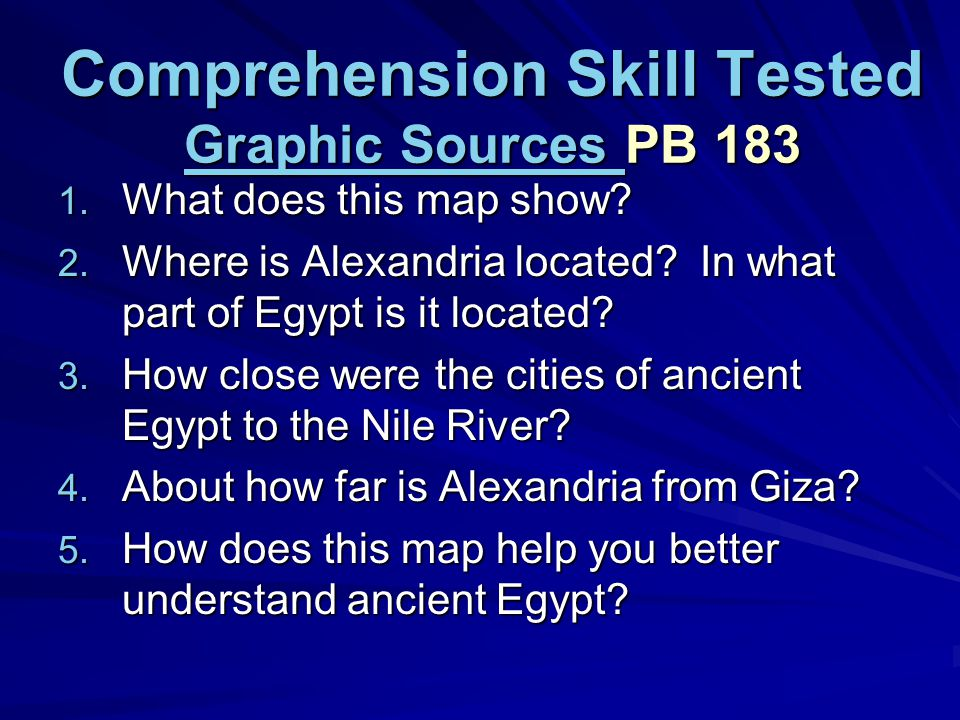 Comprehension Skill Tested Graphic Sources PB 183