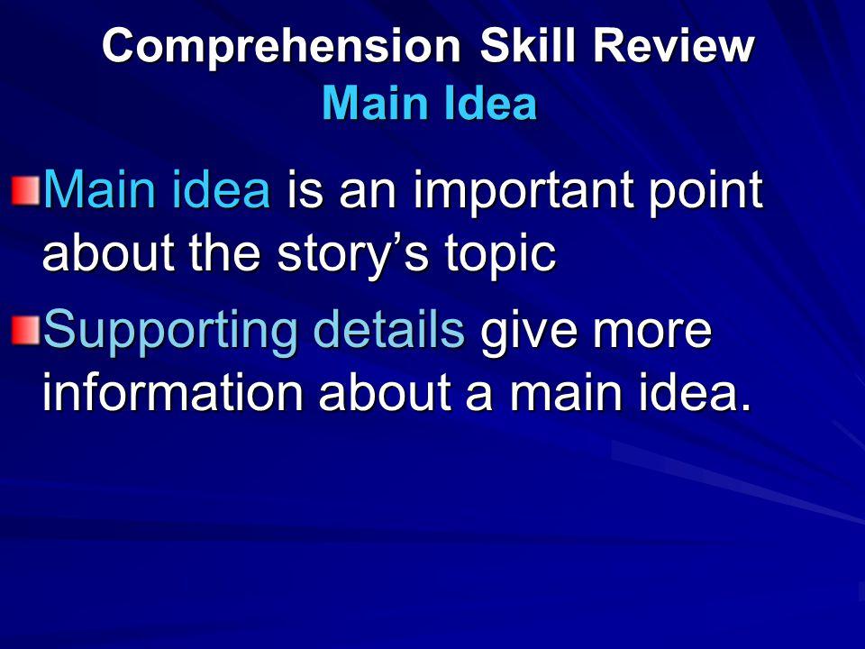 Comprehension Skill Review Main Idea