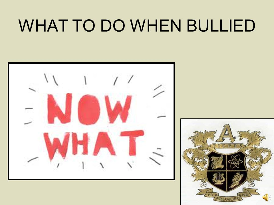 WHAT TO DO WHEN BULLIED